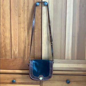 Brahmin leather crossbody handbag black and brown